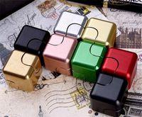 Wholesale Rubik Silver - 2017 Fidget Spinner Metal Magic Cube Stress Mix Plus Rubik Cube Stres Single Hand Finger Spiner box Lot Toys