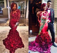 Wholesale floral carpet roses - 3D Rose Floral Burgundy Long Sleeve Evening Formal Dresses Wear 2017 Sexy African Plus Size Keyhole Back Mermaid Dubai Prom Gowns