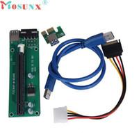 pci e 1x riser al por mayor-Al por mayor- mosunx Nueva Mecall PCI-E Express Powered Riser Card W / USB 3.0 extensor Cable 1x a 16x Monero al por mayor Mo04
