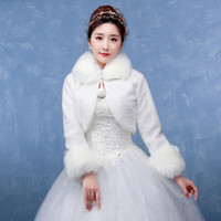 Wholesale Wrapping Hot Bride - Hot Sale High Quality Faux Fur Bolero Long Sleeves Ivory Wedding Jackets Winter Warm Coats Bride Wedding Coat