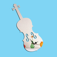 Wholesale Musical Art - Personality Violin Musical Instruments clock Home Furnishing DIY Unique Modern Art Decorative Stickers Wall Acrylic Mirror digital Clock
