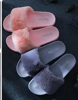 Wholesale fenty slipper rihanna resale online - 2017 new Fenty fluffy slippers Leadcat women casual shoes sandals rihanna eight color pink black and white gray red slippers