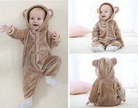 meninos macacão hoodie venda por atacado-Outono Inverno Macacão de Bebê estilo Urso bebê coral fleece marca Hoodies Jumpsuit bebê meninas meninos romper roupa de todal recém-nascido