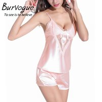 Wholesale Sexy Baby Doll Set - Wholesale- Burvogue Lace Sleepwear Set Lace Baby Dolls Nightwear Pajamas Set Silk Lingerie Sexy Two Piece Gowns Lace Robes Nightgown Set