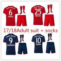 Wholesale Men Short Catsuit - men Kits + Socks 17 18 Munich MULLER soccer Jersey best quality 2017 2018 VIDAL COATA LEWANDOWSKI ROBBEN BOATENG ALABA Football Shirt