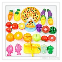 juguete de cocina gratis al por mayor-Dress Up Play Toys Food Cutting Toys Fruit Vegetable Kitchen Cutting Desarrollo temprano Juguete educativo para bebés Juguetes para niños Envío gratis