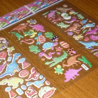 April Fool's Day PVC sticker decoration stickers lot 100sheet lot Free Style Dinosaur Dinos PVC Bubble Sticker Toys Phone Diary Book Mirror Windows Decorative Stickers