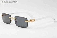 frauen klare linsengläser großhandel-Markendesigner Büffel Horn Brille Herren Vintage Retro Holz Sonnenbrille für Frauen schwarz braun klare Linsen randlose Sport Sonnenbrille