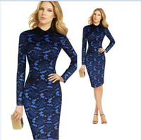 Wholesale Colorblock Long Sleeve Dresses - Wholesale free shipping Womens Elegant Floral Lace Colorblock Off Shoulder Formal Party Cocktail Slim Sheath Fitted Pencil Bodycon Dress