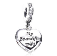 Wholesale Wife Charm Bracelet - 2017 New Valentine Gift My Beautiful Wife Charm Fit For Pandora Bracelet DIY Bead Charm 925 Sterling Silver Jewelry