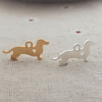 Wholesale Dachshunds Charms - Wholesale- 20pcs lot 10*20mm 18K Gold Plating Metal Animal Dog Charm Dachshund For DIY Jewelry Making