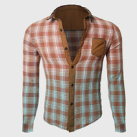 damier jaune achat en gros de-Vente en gros - Hommes Cool Gradient Shirts Designer Plaid Shirt Skinny Stun Brown Green Yellow Couleur Blocked Checkered Novelty Male Styling