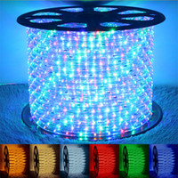 Wholesale Party Outdoors Lights Bar - 110V 220V LED 2 wire round rope light IP67 Flexible LED Strip lights PVC Outdoor Lighting RGB string Disco Bar Pub Christmas Party
