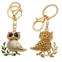 Wholesale Purse Charms Keychain - Cute Tree Branches Owl Rhinestone Charm Purse Handbag Car Key Keyring Keychain Party Wedding Birthday Gift Support FBA Drop Shipping D318Q