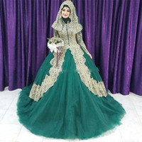 Wholesale Illusion Bridal Veils - 2018 Muslim Green And Gold Lace Ball Gown Islam Wedding Dresses Arabic High Collar Long Sleeves Hijab Veil Plus Size Bridal Gowns