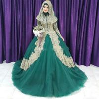 Wholesale Muslim Wedding Veil Dress - 2018 Muslim Green And Gold Lace Ball Gown Islam Wedding Dresses Arabic High Collar Long Sleeves Hijab Veil Plus Size Bridal Gowns