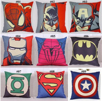Wholesale Batman Pillow Cases - Superhero Avengers cushion case Cartoon pillow case superman batman Printed Cushion Cover linen Pillow Cover Home Textiles Xmas gift