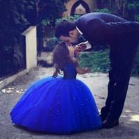 ingrosso abiti blu scuro del bigné del bambino del bambino-Cenerentola Carino Royal Blue Ball Gown Girls Pageant Abiti Off spalla Tulle Piano Lunghezza Toddler Compleanno Abiti da festa Cupcake