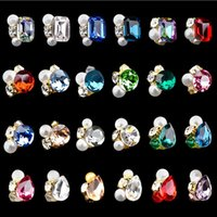 12pcs / lot 3D прозрачный сплав Rhinestone Nail Art Jewelry Flower Glitter Rhinestone Decorations Crystal Charms Gilitter Tips