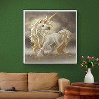 Wholesale Cross Stitch Print - YGS-594 DIY 5D Partial Diamond Embroider The horse Round Diamond Painting Cross Stitch Kits Diamond Mosaic Home Decor