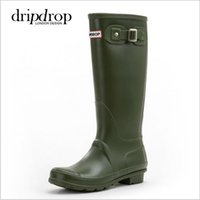 Wholesale Hunter Rain Boots Low Heels - Women hunter RAINBOOTS fashion Knee-high rain boots waterproof welly boots Rubber rainboots water shoes rainshoes tall and short 9 colors