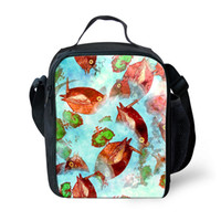 Wholesale Girl Backpack Lunchbox - Printing Exotic Fish and Floral Lunch Bags for Students Boys and Girls Customized Quality bolsa termica Unique lunchbox for School Teenagers