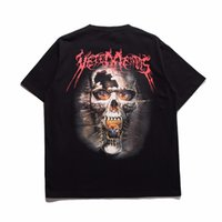 Wholesale Shirts Short Backs - 2017 Vetements Oversized Heavy Metal Back Side Skull Print Korea Pop Up Oversize Short Sleeve Men Cotton T-shirt Tee