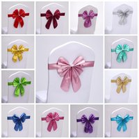 Wholesale Tie Back Sash - Chair Sashes Band Wedding Short Bowknot Seat Back Cover With Elastic Fashion Butterfly Tie Hotel Props Hot Sale 2sk FY