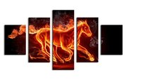 Wholesale Large Canvas Wall Art Wholesale - Fallout 2017 Rushed Oil Painting 5 Pcs Large Horse With Tree Top-rated Canvas Print For Living Room Wall Art Picture Gift