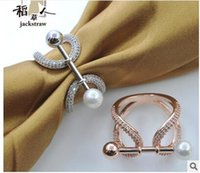 Wholesale Pure Zircon Rings - Pure copper multi-function zircon ring shaped pearls scarves buckle jewelry contracted scarf shawl buckle