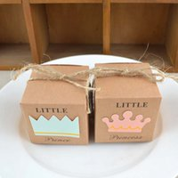 Wholesale Crown Baby Shower Favors - Baby Shower Candy Box Wedding Favors Supplies Little Prince Little Princess Crown Kraft Paper Gift Packing Boxes 0 22wj C R