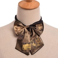 Wholesale Fast Industrial - Unisex Vintage Steampunk Bronze Bowknot Bowtie Industrial Victorian Neck Tie Costume Accessory High Quality Fast Shipment