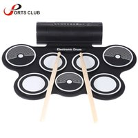 Wholesale Drum Kit Usb Midi - Wholesale- Silicone Electronic Drum Pad Kit Portable Digital USB MIDI Roll-up with Drumstick Foot Pedal Foldable