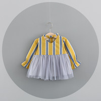 Wholesale Vertical Stripe Style - 2 color INS styles new arrival Girl dress kids spring autumn Vertical stripe Cotton and gauze patchwork Dress girl casual elegant dress