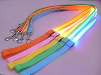 Wholesale led dog collar resale online - Nylon Weave Dog Collars And Leashes Glow LED Flashing Light Pet Leash Tether Traction Belt Environmental Protection Chain Rope xl kk