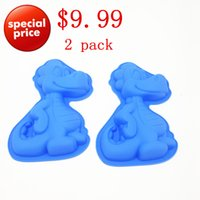 Wholesale Silicone Dinosaur Mold - Wholesale- 24*17*4CM 90G 2pcs lot Lovely Pet Dinosaur Cake Mold 3D Silicone Cake Mold Baking Tools For Bakeware Free Shipping