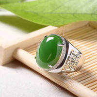 Wholesale Sterling Silver 925 Jade Sets - Chinese style green jade man's ring 12*16mm natural jade vintage 925 silver gemstone ring for man Luxurious silver man ring