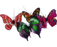 Simulation Butterfly outdoor ornaments - 50pcs cm quot Colorful Double Wings Big Butterfly Stakes Garden Ornaments Party Supplies Decorations for Outdoor Garden Fake Insects