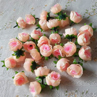 Wholesale Black Roses Artificial Flowers - Wholesale 100pcs Artificial Flowers Heads Pink Artificial Rose Bud Artificial Flowers For Wedding Decorations Christmas Party Silk Flowers