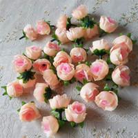 rosa rosa flores artificiales al por mayor-Venta al por mayor 100 unids cabezas de flores artificiales Pink Artificial Rose Bud Artificial flores para decoraciones de la boda fiesta de Navidad flores de seda