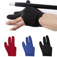 Wholesale Snooker Cue Wholesalers - Wholesale- Spandex Snooker Billiard Cue Glove Pool Left Hand Open Three Finger Accessory