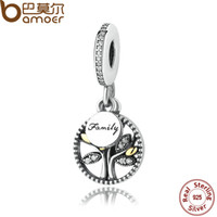 Wholesale Sterling Silver FAMILY TREE Pendant Charm for Pandora style Bracelet and Necklace DANGLE AND CLEAR CUBIC ZIRCONIA CHARM