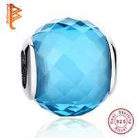 BELAWANG European Beads 925 Sterling Silver Blue Crystal Charms Murano Glass Bead Fit Pandora BraceletsBangles DIY Original Jewelry Making
