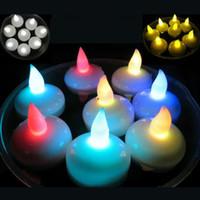 flutuante, velas, casório, decorações venda por atacado-Colorido À Prova D 'Água Luz Flutuante Flutuante LED Tealight Velas Desejando Lanterna Romântico Festa de Casamento Decoração ZA3377