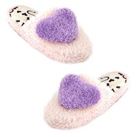 Pantuflas Al Por Mayor Púrpuras Baratos-Al por mayor- TEXU Ladies Light Pink Purple Heart Decor Plush Warm Warming SlipPers 6.5