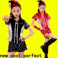 Wholesale Dance Costume Child Hip Hop - 2017 new children jazz dancing girl girl cheerleading modern dance performance costume hip hop performance costume + shorts red  black free