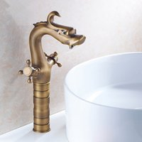 Wholesale Bathroom Faucets Antique Bronze Finish - Bathroom Sink dragon faucet antique copper bathroom sink faucet Hot And Cold Ceramic Valve Deck Mounted Brass Finished Faucet