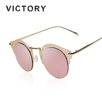 Wholesale Metal Mesh Eyes - Wholesale-Polarized 2016 New Vintage Style Cat Eye Mesh Sunglasses Metal Frame Sexy Female Shades Mirror Retro Circle Round Sun Glasses