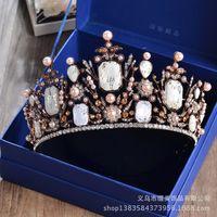 Wholesale Cheap Vintage Hair Accessories - Fantastic 2017 Vintage Lace Crystal Rhinestones Wedding Crowns Tiaras Cheap Bridal Headpieces Pearls Wedding Hair Accessories Hot Sale