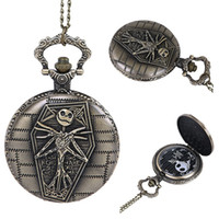 Wholesale Devil Watch - Vintage Skull Ghost Quartz Pocket Watch Bronze Little Devil Coffin Chain Pendant Necklace Watches Gift For Mens Women
